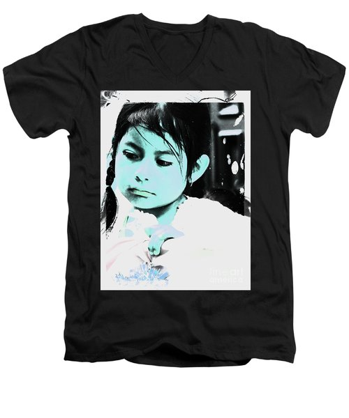 Men's V-Neck T-Shirt featuring the photograph Cuenca Kids 886 by Al Bourassa
