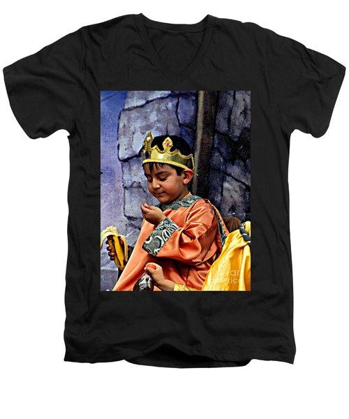 Men's V-Neck T-Shirt featuring the photograph Cuenca Kids 903 by Al Bourassa