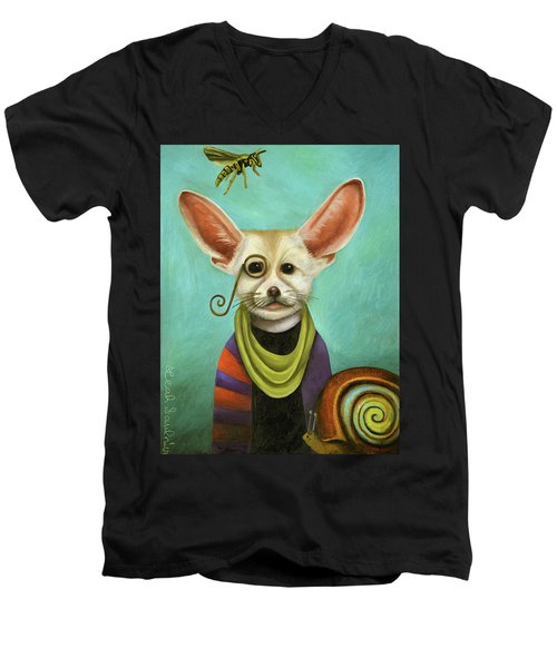 Men's V-Neck T-Shirt featuring the painting Curious As A Fox by Leah Saulnier The Painting Maniac