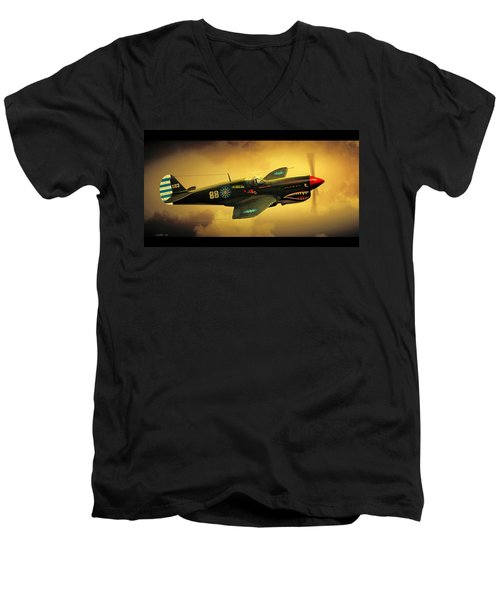 Curtiss P40 C Warhawk Men's V-Neck T-Shirt by John Wills