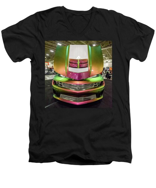 Custom Camaro Men's V-Neck T-Shirt by Randy Scherkenbach