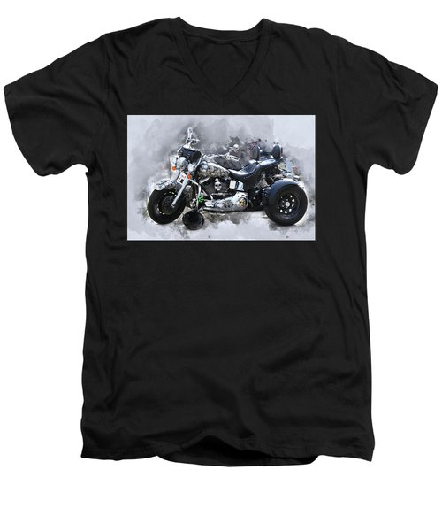 Customized Harley Davidson Men's V-Neck T-Shirt