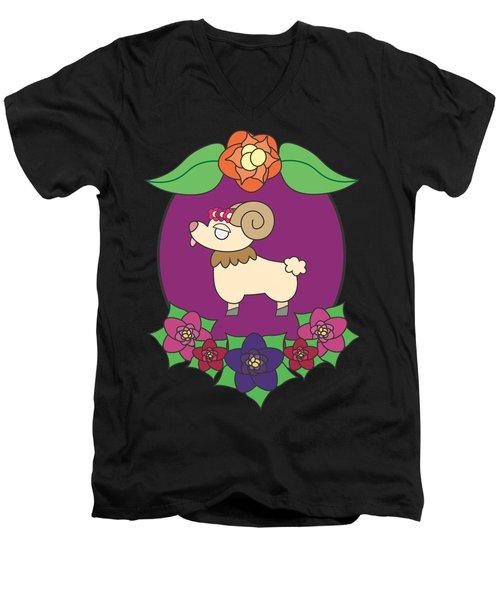 Cute Goat Men's V-Neck T-Shirt by Jadrien Douglas