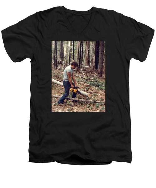 Cutting Wood In Blue Canyon Men's V-Neck T-Shirt