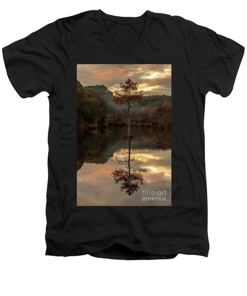 Cypress At Sunset Men's V-Neck T-Shirt by Iris Greenwell