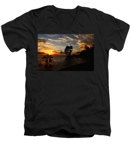 Cypress Bend Resort Sunset Men's V-Neck T-Shirt by Judy Vincent