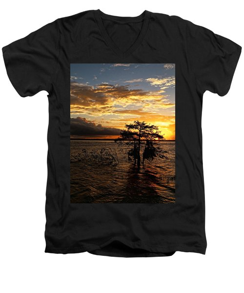 Cypress Sunset Men's V-Neck T-Shirt by Judy Vincent