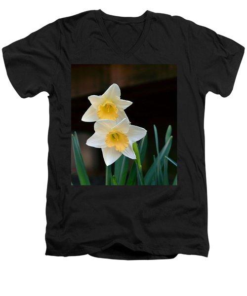 Daffodil Men's V-Neck T-Shirt by Kathy Eickenberg