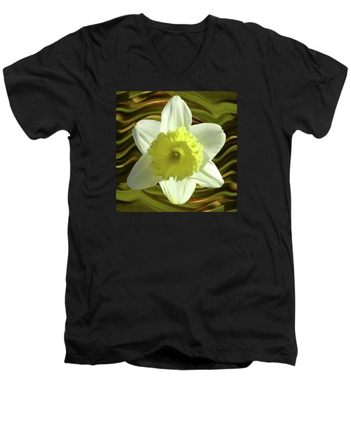 Daffodil Swirl Men's V-Neck T-Shirt