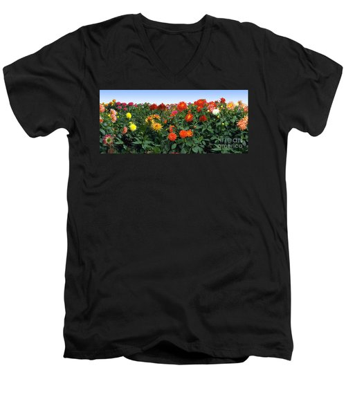 Dahlia Flower Panorama Men's V-Neck T-Shirt