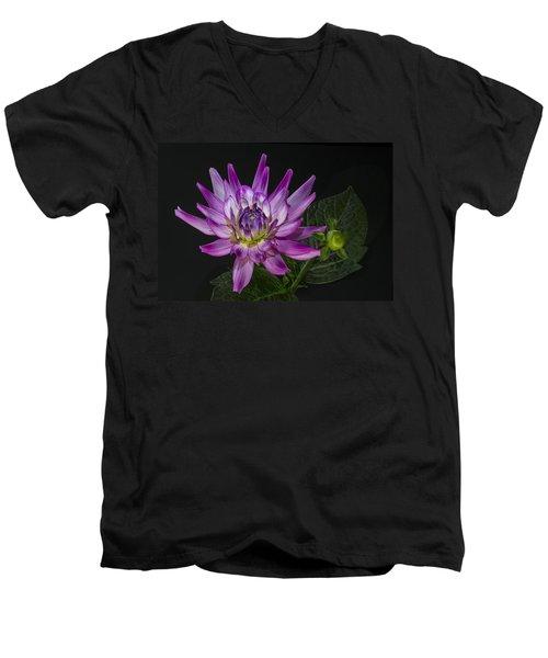 Dahlia Glow Men's V-Neck T-Shirt by Roman Kurywczak