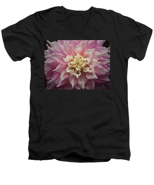 Men's V-Neck T-Shirt featuring the photograph Dahlia Perfection by Karen Stahlros