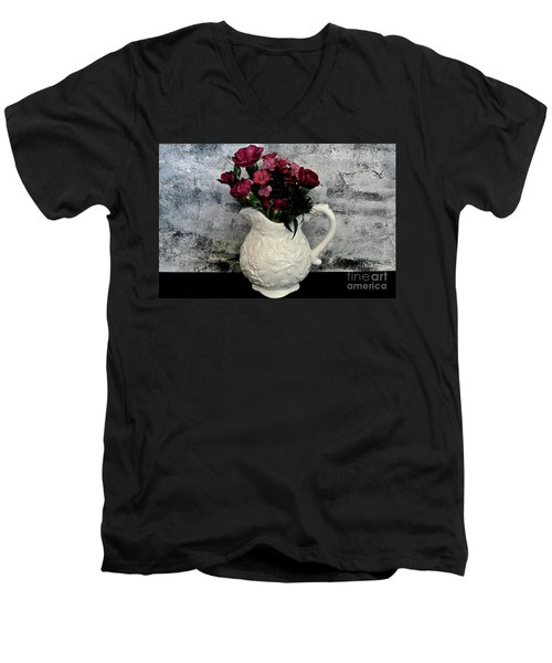 Dainty Flowers Men's V-Neck T-Shirt by Marsha Heiken
