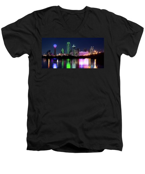 Dallas Colorful Night 52716 Men's V-Neck T-Shirt