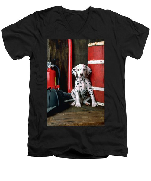 Dalmatian Puppy With Fireman's Helmet  Men's V-Neck T-Shirt