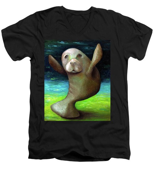 Dance Of The Manatee Men's V-Neck T-Shirt by Leah Saulnier The Painting Maniac