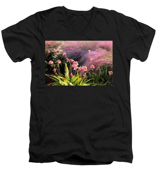 Men's V-Neck T-Shirt featuring the photograph Dance Of The Orchids by Rosalie Scanlon