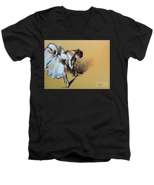 Men's V-Neck T-Shirt featuring the painting Dancer Adjusting Her Slipper by Jodie Marie Anne Richardson Traugott          aka jm-ART