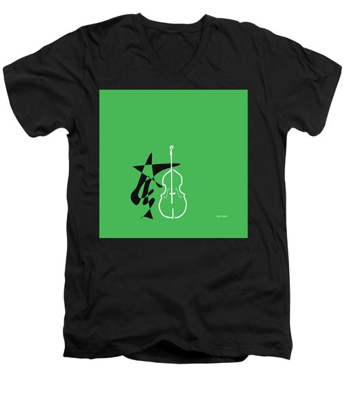 Dancing Bass In Green Men's V-Neck T-Shirt by David Bridburg
