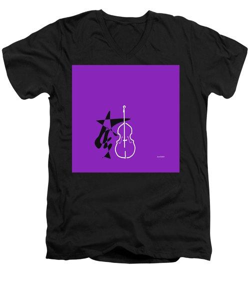 Dancing Bass In Purple Men's V-Neck T-Shirt by David Bridburg
