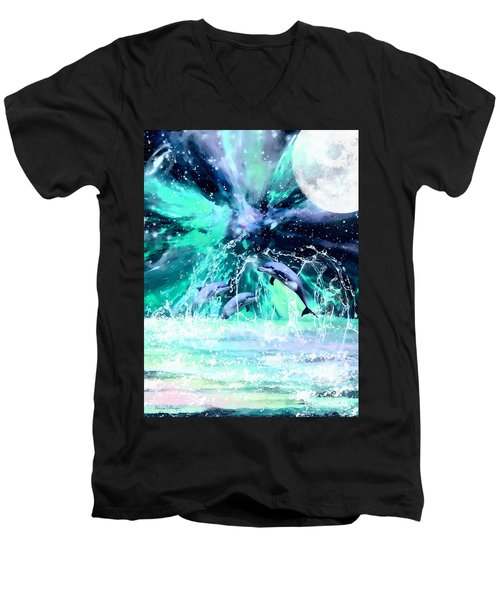 Dancing Dolphins Under The Moon Men's V-Neck T-Shirt