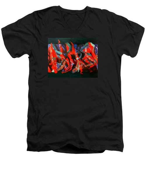Men's V-Neck T-Shirt featuring the painting Dancing Flames by Georg Douglas