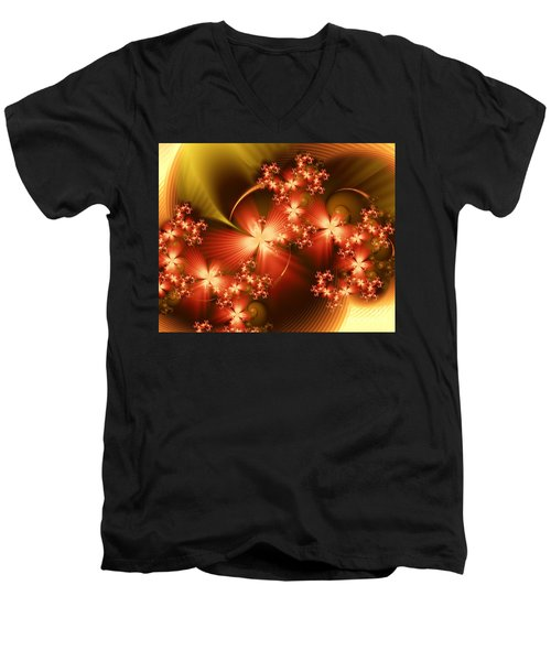 Dancing In Autumn Men's V-Neck T-Shirt by Michelle H