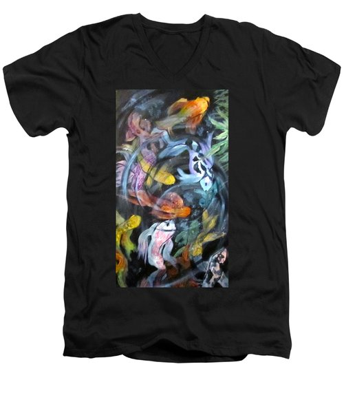 Dancing Koi Men's V-Neck T-Shirt by Barbara O'Toole