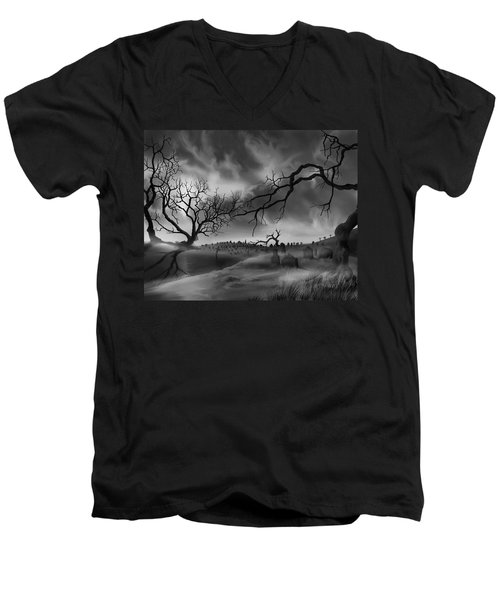 Men's V-Neck T-Shirt featuring the painting Dark Cemetary by James Christopher Hill