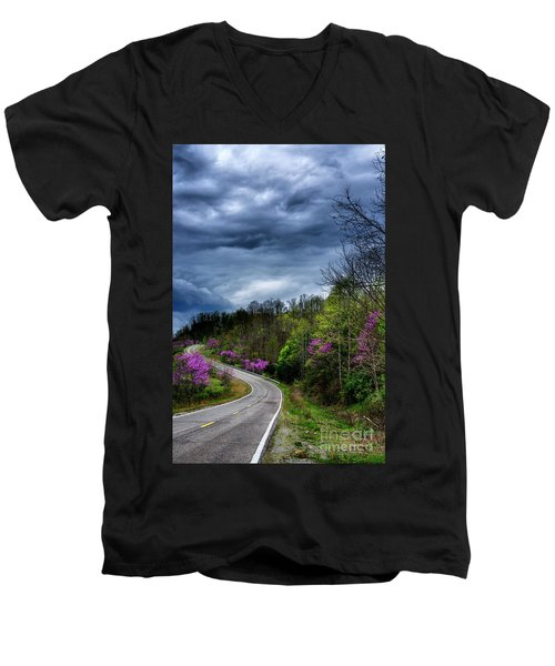 Men's V-Neck T-Shirt featuring the photograph Dark Clouds Over Redbud Highway by Thomas R Fletcher