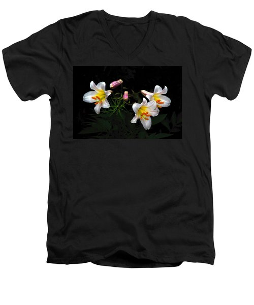 Men's V-Neck T-Shirt featuring the photograph Dark Day Bright Lilies by Byron Varvarigos
