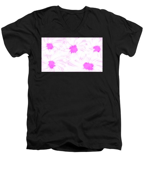 'dark Pink And White Flower Abstract' Men's V-Neck T-Shirt