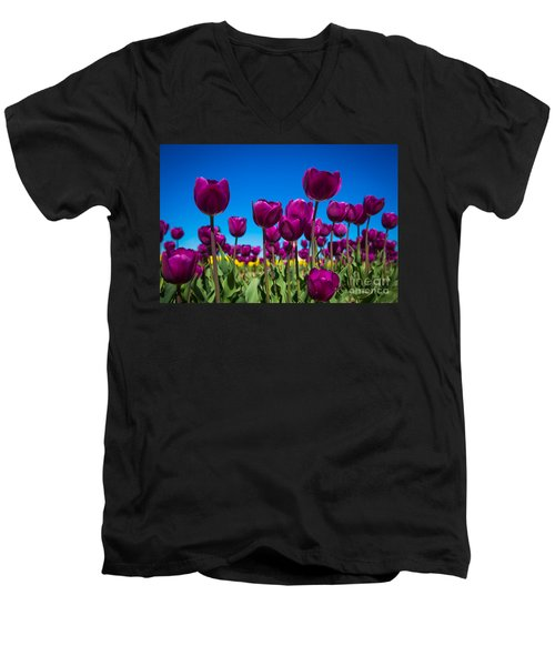 Dark Purple Tulips Men's V-Neck T-Shirt