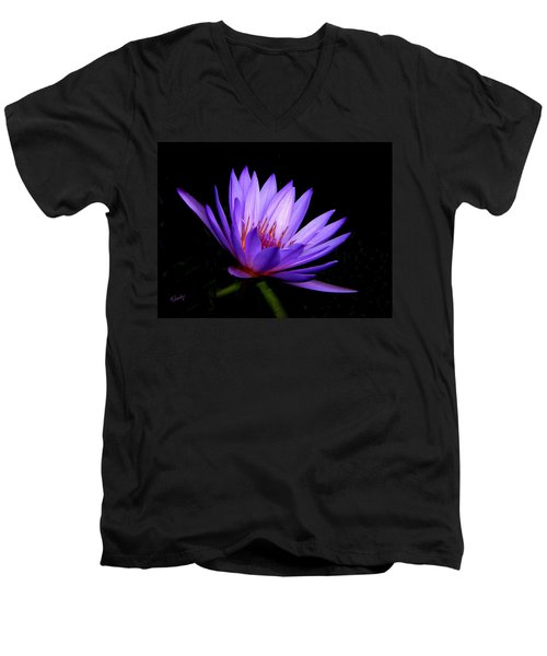 Men's V-Neck T-Shirt featuring the photograph Dark Side Of The Purple Water Lily by Rosalie Scanlon