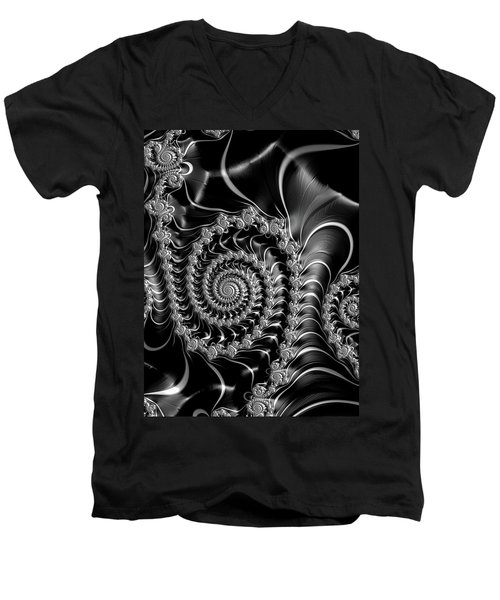 Dark Spirals - Fractal Art Black Gray White Men's V-Neck T-Shirt