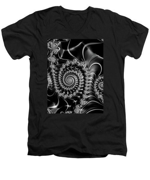 Men's V-Neck T-Shirt featuring the digital art Dark Spirals - Fractal Art Black Gray White by Matthias Hauser