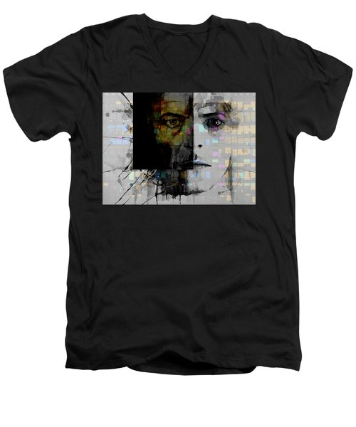 Men's V-Neck T-Shirt featuring the painting Dark Star by Paul Lovering