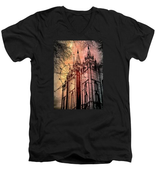 Dark Temple Men's V-Neck T-Shirt by Jim Hill