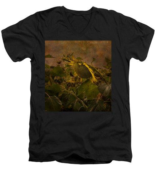 Dark Textured Sunflower Men's V-Neck T-Shirt