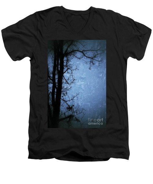 Dark Tree Silhouette  Men's V-Neck T-Shirt by Jason Nicholas