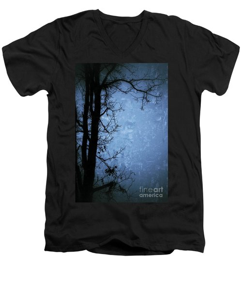 Dark Tree Silhouette  Men's V-Neck T-Shirt