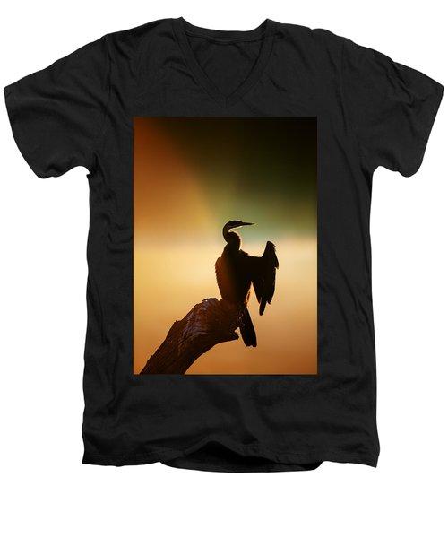 Darter Bird With Misty Sunrise Men's V-Neck T-Shirt