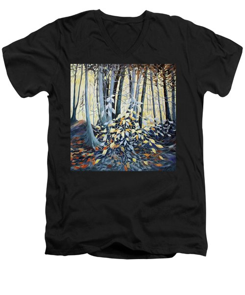 Men's V-Neck T-Shirt featuring the painting Natures Dance by Joanne Smoley