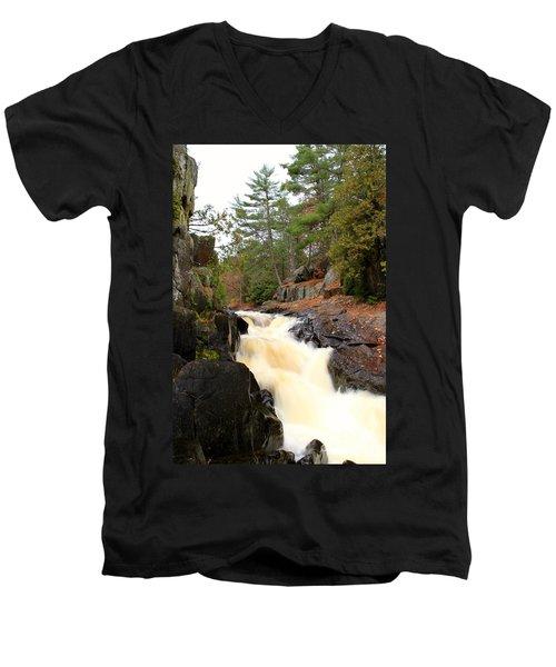 Dave's Falls #7277 Men's V-Neck T-Shirt by Mark J Seefeldt