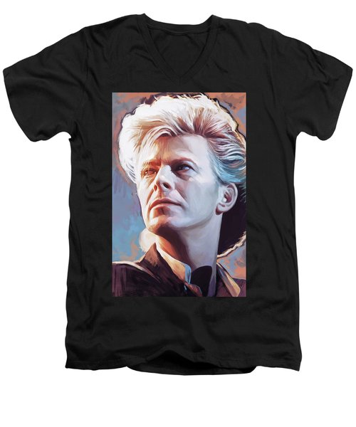 Men's V-Neck T-Shirt featuring the painting David Bowie Artwork 2 by Sheraz A