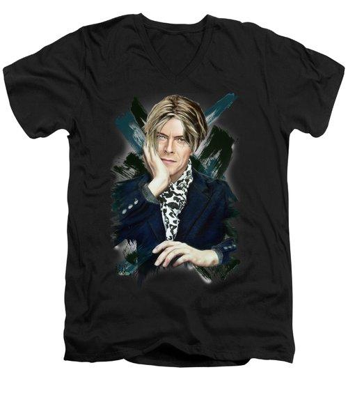 David Bowie Men's V-Neck T-Shirt by Melanie D