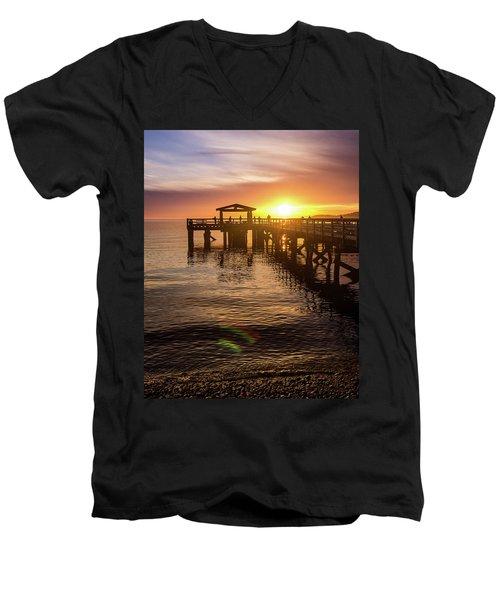 Davis Bay Pier Sunset 4 Men's V-Neck T-Shirt