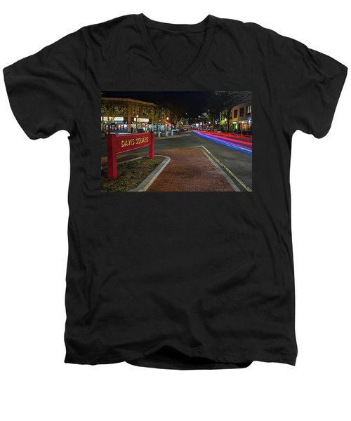 Davis Square Sign Somerville Ma Mikes Men's V-Neck T-Shirt