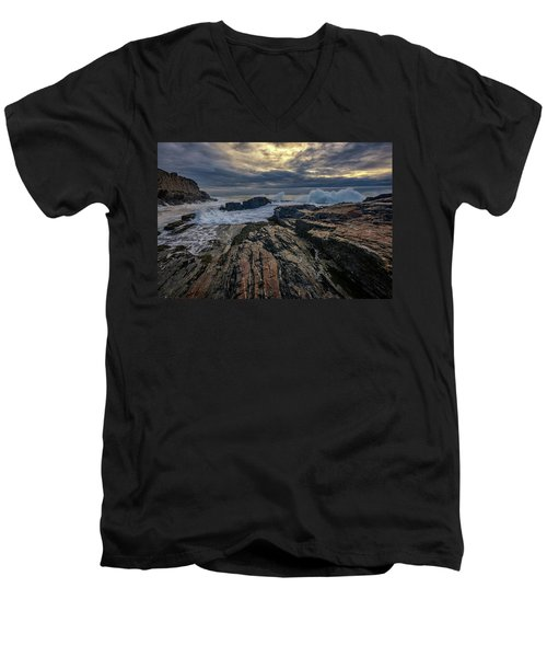 Men's V-Neck T-Shirt featuring the photograph Dawn At Bald Head Cliff by Rick Berk