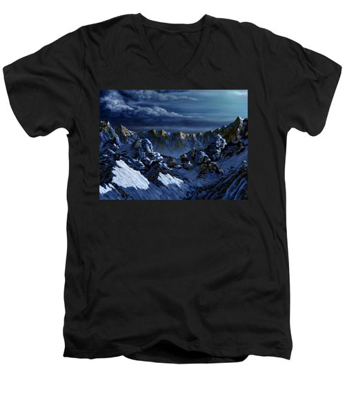 Men's V-Neck T-Shirt featuring the digital art Dawn At Eagle's Peak by Curtiss Shaffer